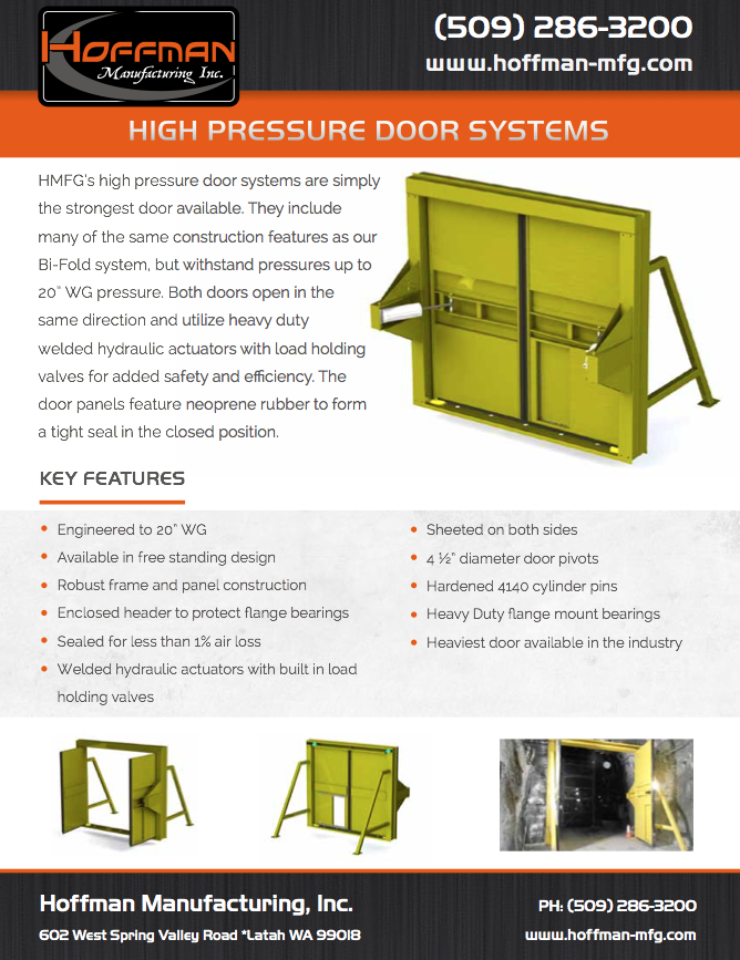 Click image below to download the product brochure.  sc 1 st  Hoffman Manufacturing & High Pressure Ventilation Mine Doors | Hoffman Manufacturing